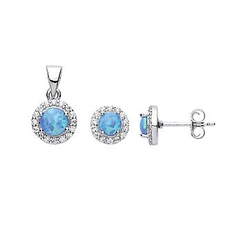 Jewelco London Ladies Rhodium Plated Sterling Silver blue round opal Halo Earrings Necklace Set