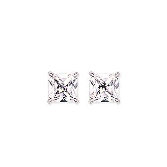 Jewelco London Rhodium Plated Sterling Silver Princess Cut Cubic Zirconia 4 Claw Solitaire Stud Earrings 11mm