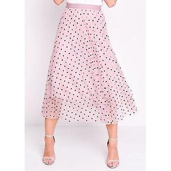 Pleated Polka Dot hoch taillierte Midi Rock rosa