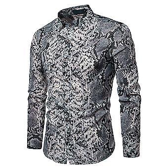 Allthemen Men's Casual Camicia Snake Stampa Slim Fit Camicia a maniche lunghe