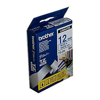 Brother TZe233-tarra nauha 12 mm sininen valkoisella teipillä