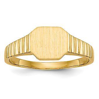 14k Yellow Gold Solid Gravokerbar Stängd rygg polerad och satin för pojkar eller flickor Signet Ring Storlek 3