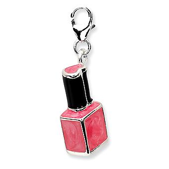 925 Sterling Silver Rhodium plated Fancy Lobster Closure 3 d Enameled Pink Nailpolish Bottlew Lobster Clasp Charm Pendan