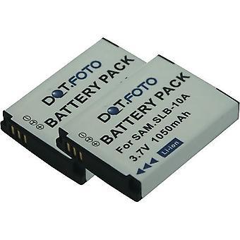 2 x batería de reemplazo de Samsung SLB-10A Dot.Foto - 3.7v / 1050mAh