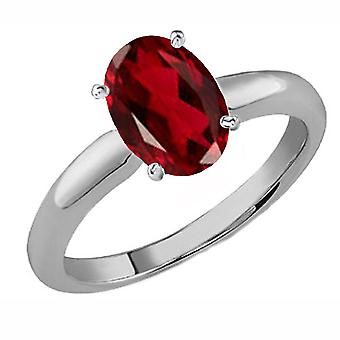 Dazzlingrock Collection 10K 9x7 MM Oval Cut Garnet Ladies Solitaire Bridal Engagement Ring, White Gold