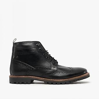 Base London Bower Mens Leather Brogue Ankle Boots Waxy Black