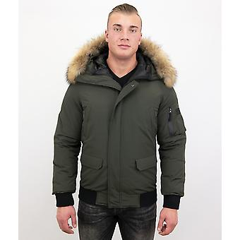 Short Winter Coat Army - With Fur Collar - Green