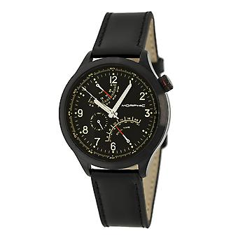 Morphic M44 Series Dual-Time Leather-Band Watch w/ Retrograde Date - Black