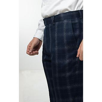 Dobell menns Navy Suit bukser vanlig Fit vindusrute sjekk