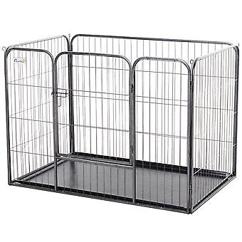 PawHut Heavy-Duty Metal Pet Playpen Dog Crate Kennel w/ Door, Latches, Tray Hexagon