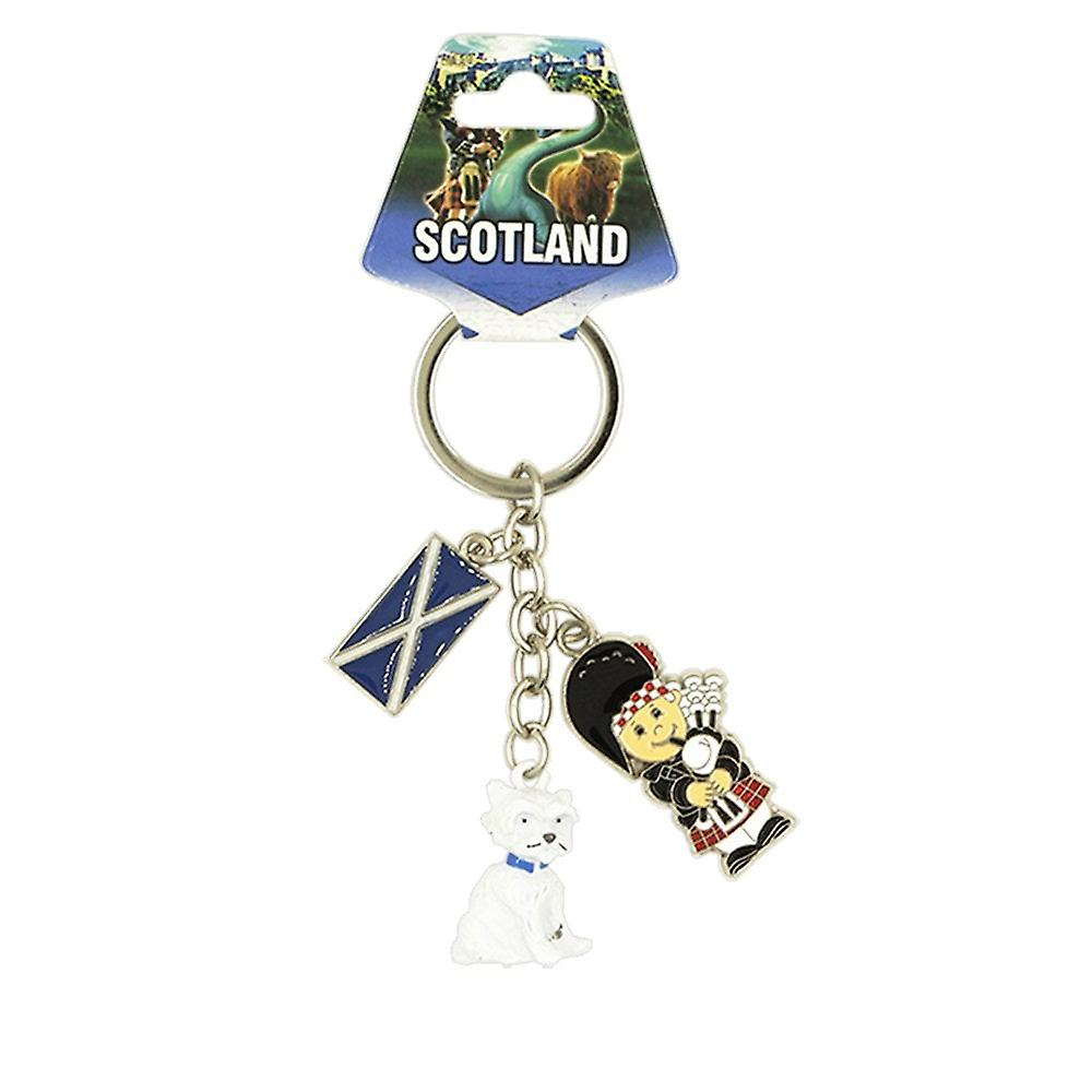 EastWest Keyring - Scotland Charm Bagpiper And Westie Dog