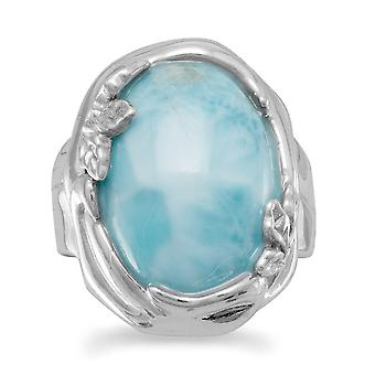 Rhod. P. 925 Sterling Silver Ring Leaf Accents Around An Oval 13.5mm X 17.5mm Larimar Stone Jewelry Gifts for Women - Ri