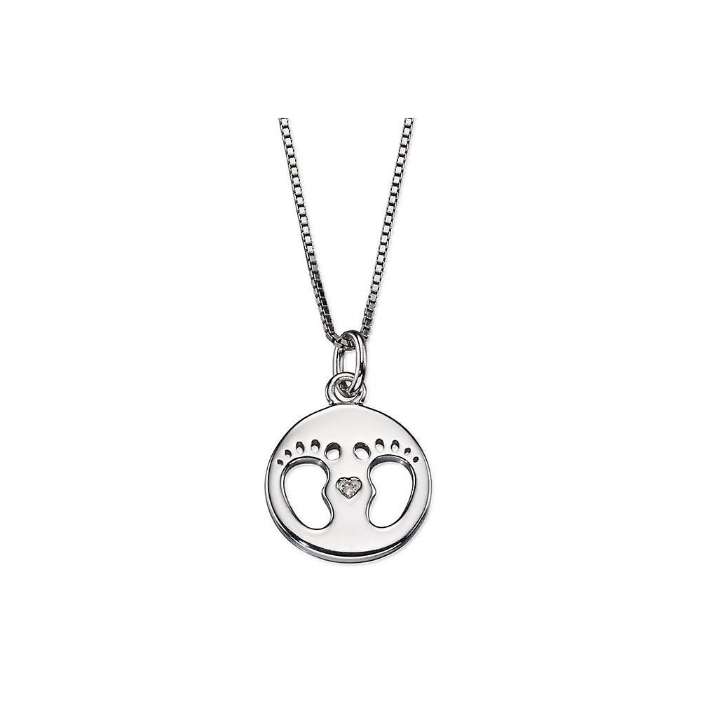 D for Diamond Silver Baby Footprint Disc Pendant P4443