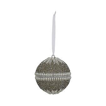 Licht & Living Weihnachtskugel Rund 10cm Pota Silber-Creme