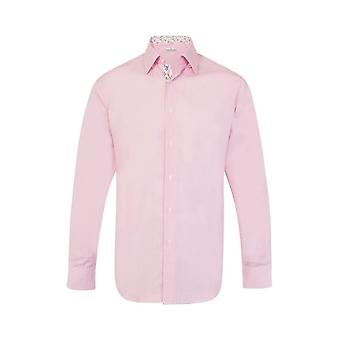 JSS Plain Pink Regular Fit Shirt With Pink & White Floral Trim