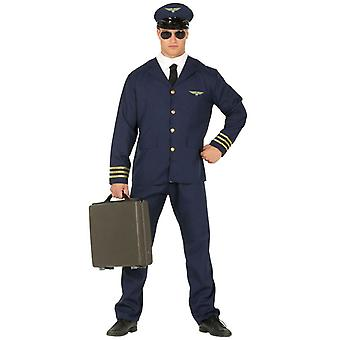 Mens Pilot Fancy Dress Kostuum Aviator