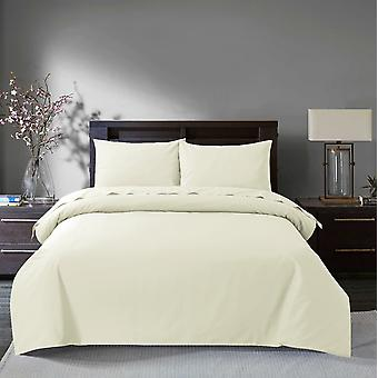 Sleepdown 200 Thread Count Egyptian Cotton Duvet Cover Set Bedding - Double - Ivory