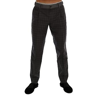 Dolce & Gabbana Gray Check Stretch Cotton Pants