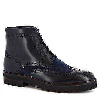 Leonardo Zapatos Hombres's brogues hechos a mano cordones botas de cuero de becerro azul