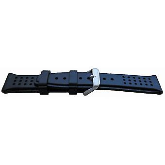 Blue rubber watch strap with dimple texture stainless steel buckle 22 to 24mm