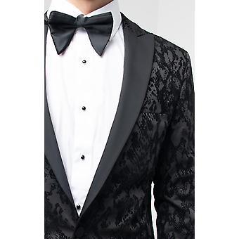 Dobell Mens Black Snake Print Tuxedo Jacket Regular Fit Contrast Peak Lapel