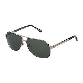 Dunhill SDH137 579P Total Shiny Palladium/Polarised Grey-Green Sunglasses