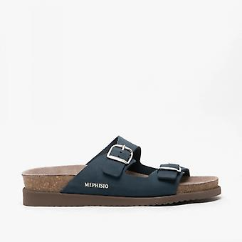 Mephisto Harmony Ladies Leather Mule Sandals Navy