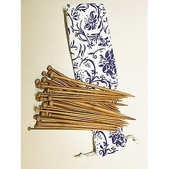18 Paren/36pcs Single Pointed Carbonized Patina Bamboo Knitting Needles 23cm/9 With Case (2mm-12mm Set)