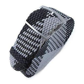Strapcode fabric watch strap 20, 22mm miltat perlon watch strap, black & light grey, sandblasted ladder lock slider buckle