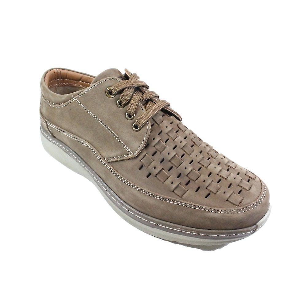 Ara Pedro 16202-14 Beige Nubuck Cuir Hommes Wide Fit Lace Up Chaussures - Remise particulière