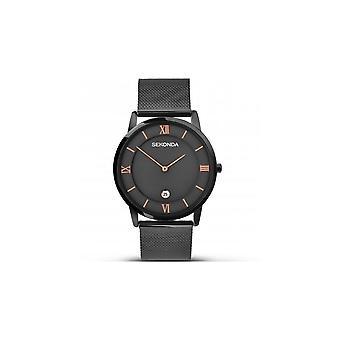 Sekonda Mens Black Ion-Plated Mesh Strap Watch 1187