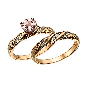 """الطبيعية الخوخ/الوردي 2.10 كتو مقابل مورغانيتي خاتم مع """"تعيين زفاف الماس ارتفع الذهب"""" 14 ك"""
