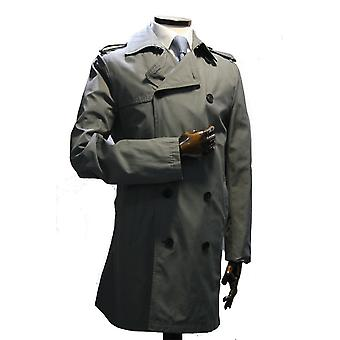 Academy Grey Double-Breasted Trench Coat