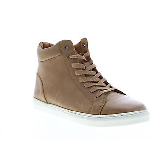 Robert Wayne Daxton  Mens Brown Leather Lace Up High Top Sneakers Shoes