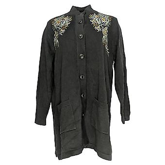 Bob Mackie Women's Sweater Floral Embroidered Long Cardigan Black A283753