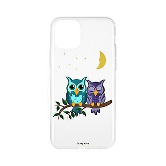 Casco para iPhone 11 Pro Max Patrón flexible Búhos a la luz de la luna