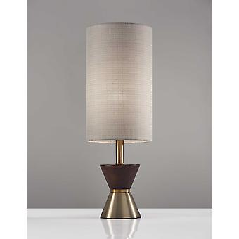 "8"" X 8"" X 23"" Brass Wood Metal Table Lamp"