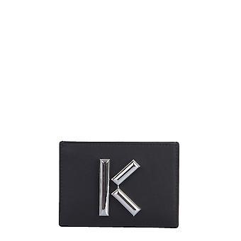 Kenzo Fa52pm300l2099 Frauen's schwarze Leder Karte Halter