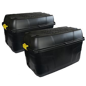 Charles Bentley Strata 2 x 175L Heavy Duty Trunk auf Rädern - schwarz H56 x L94 x W52cm 5.2kg Starke Clip Schlösser wasserdichtes Design Indoor/Outdoor