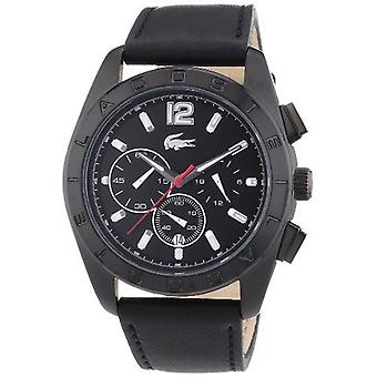 Lacoste 2010609 Panama Black Dial Black Leather Strap Men's Watch