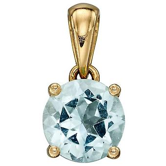 Elements Gold March Birthstone Pendant - Light Blue/Gold