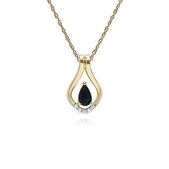 Classic Pear Sapphire & Five Diamond Leaf Halo Pendant Necklace in 9ct Yellow Gold 135P1916029