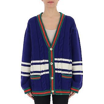 Gucci 546079xkai24206 Women's Blue Wool Cardigan
