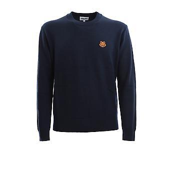 Kenzo Fa65pu5373ta76 Men's Blue Wool Sweater