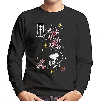 Jordnötter Snoopy & Woodstock Japan Cherry Blossom Män's Tröja