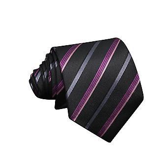 Kravata 100% hodváb - čierna/fialová s pruhmi