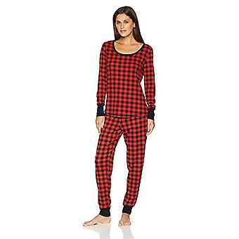 Brand - Mae Women's Sleepwear Thermal Pajama Set, Red Buffalo Check, X...