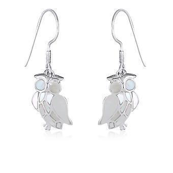 ADEN 925 Sterling Silver White Mother-of-pearl Owl Earrings (id 4156)