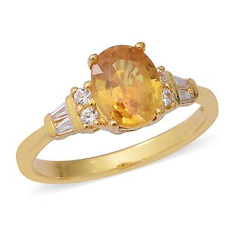 Yellow Sapphire Solitaire Ring Sterling Silver Yellow Gold Plated White Zircon