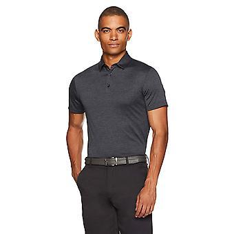 Essentials Men's Tech Stretch Polo Shirt, Black Heather, Large